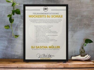 Teilnahmebestätigung personalisiert der DJ Schule